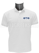 Phi Tau Phi Men's Polo Shirt with Greek Letters, White
