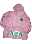 Pink Alpha Kappa Alpha Pullover Anorak Jacket with Old English Letters