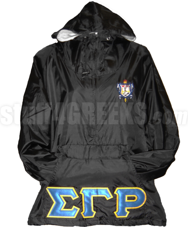 Sigma Gamma Rho Greek Letter Pullover Anorak Jacket with Crest, Black