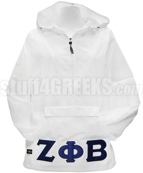 Zeta Phi Beta Greek Letter Pullover Anorak Jacket, White