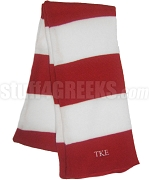 Tau Kappa Epsilon Striped Red and White Scarf with Greek Letters