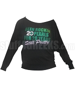 Alpha Kappa Alpha Long Sleeve Shoulder Shirt with 20 Pearls for 20 Years Design, Black