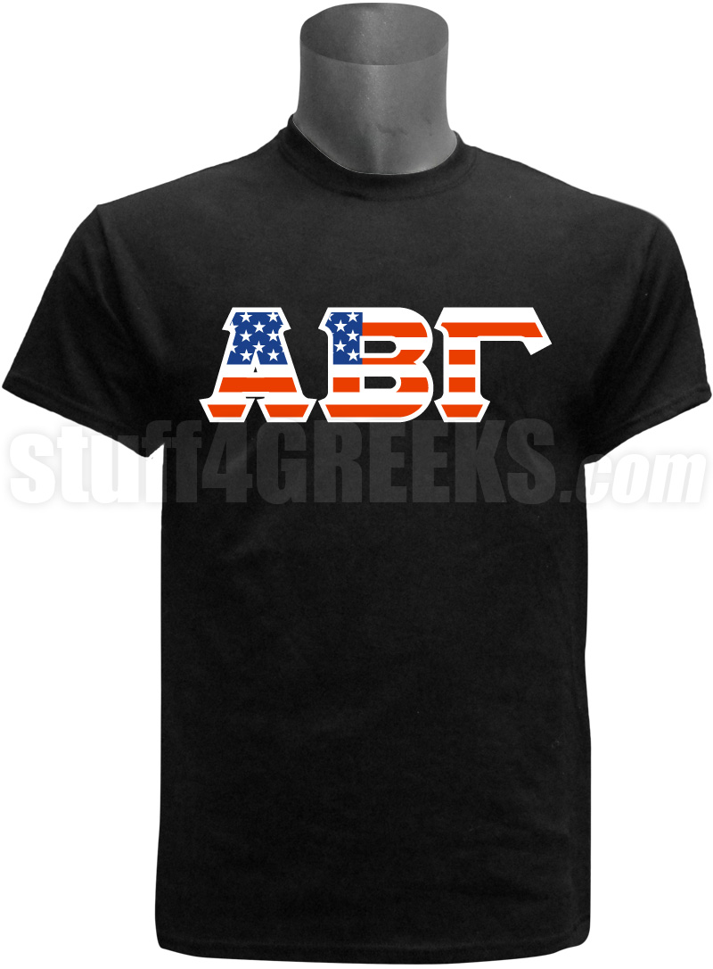american flag greek letter screen printed t shirt zoom