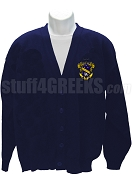 Alpha Chi Sigma Cardigan Sweater with Crest, Navy Blue