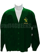 Alpha Gamma Rho Cardigan Sweater with Crest, Forest Green