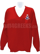Alpha Rho Chi V-Neck Sweater with Crest, Sanguine