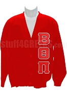 Beta Theta Pi Cardigan with Crest, Red