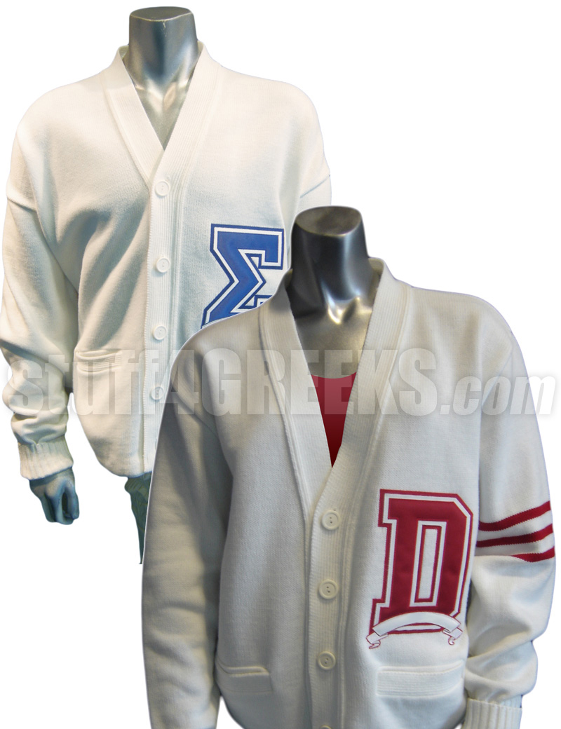 custom cardigan with big varsity letter zoom