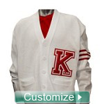 Custom Cardigan with Big Varsity Letter - EMBROIDERED With Lifetime Guarantee