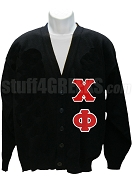 Chi Phi Cardigan with Greek Letters, Black