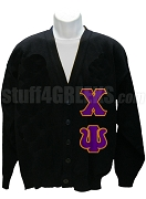 Chi Psi Cardigan with Greek Letter, Black