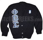 Phi Beta Sigma Greek Letter Cardigan with Crest, Black