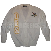 OES Cardigan with Letters and Fatal Star, White