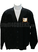 Delta Psi Chi Cardigan with Greek Letter, Black