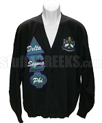 Delta Sigma Phi Crest Cardigan with Organization Name Thru Greek Letters, Black