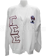 Gamma Sigma Sigma Crest Cardigan with Greek Letters, White