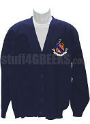 Kappa Delta Rho Cardigan Sweater with Crest, Navy Blue