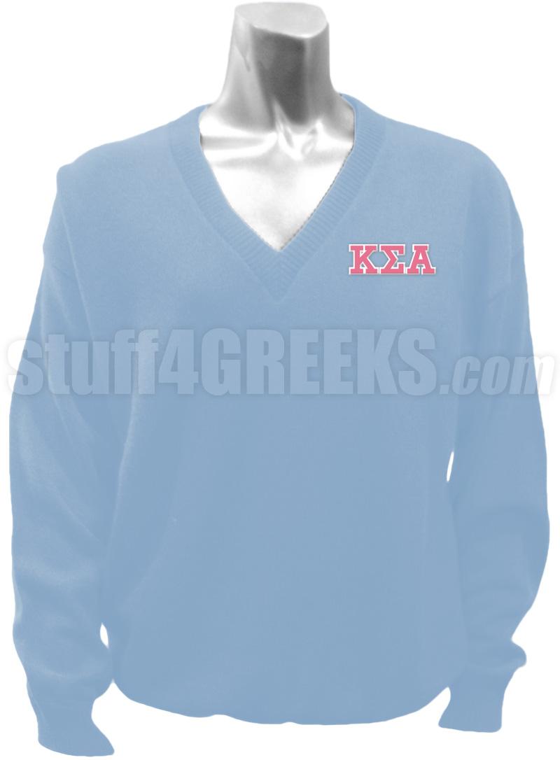 Kappa Sigma Alpha Greek Letter V-Neck Sweater, Light Blue