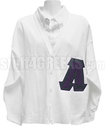 Lambda Chi Alpha Big Varsity Letter Cardigan with Greek Letters, White