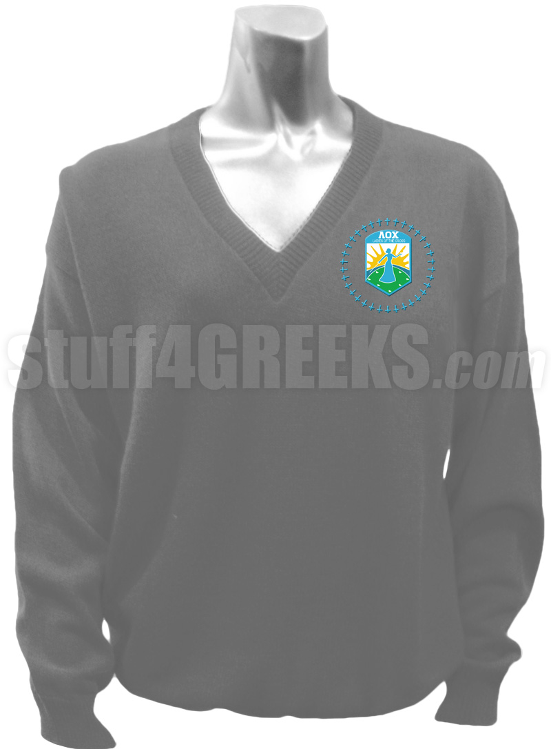 Lambda Omicron Chi V Neck Sweater With Crest Gray