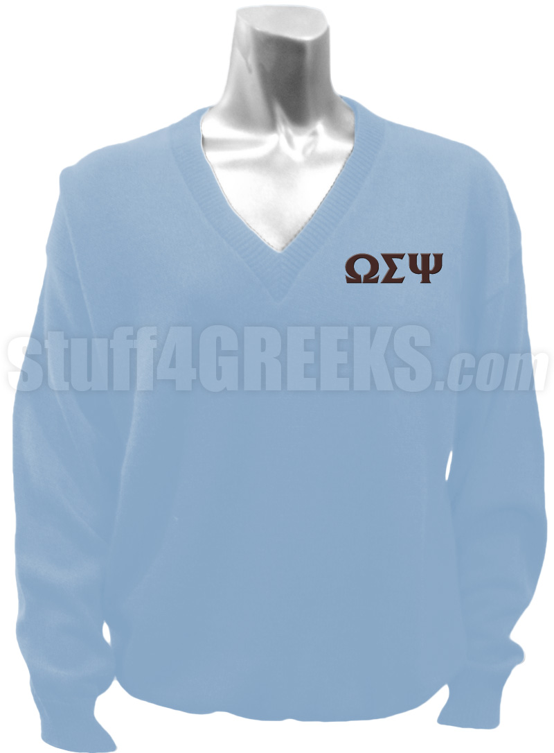 Omega Sigma Psi V-Neck Sweater with Greek Letters, Powder Blue