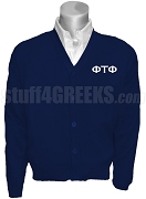 Phi Tau Phi Greek Letter Cardigan, Navy Blue