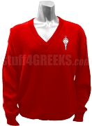 Pi Kappa Delta V-Neck Sweater with Crest, Red