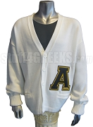 White Alpha Phi Alpha Varsity Letter Cardigan with a Large