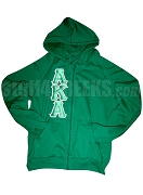 Kelly Green Alpha Kappa Alpha Zip-Up Hoodie with AKA Letters