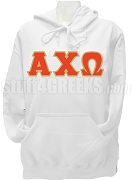 Alpha Chi Omega Greek Letter Pullover Hoodie Sweatshirt, White