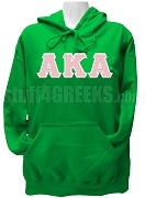 Alpha Kappa Alpha Greek Letter Pullover Hoodie Sweatshirt with Zeta Nu Omega Letters and Founding Year Back, Kelly Green - EMBROIDERED With Lifetime Guarantee