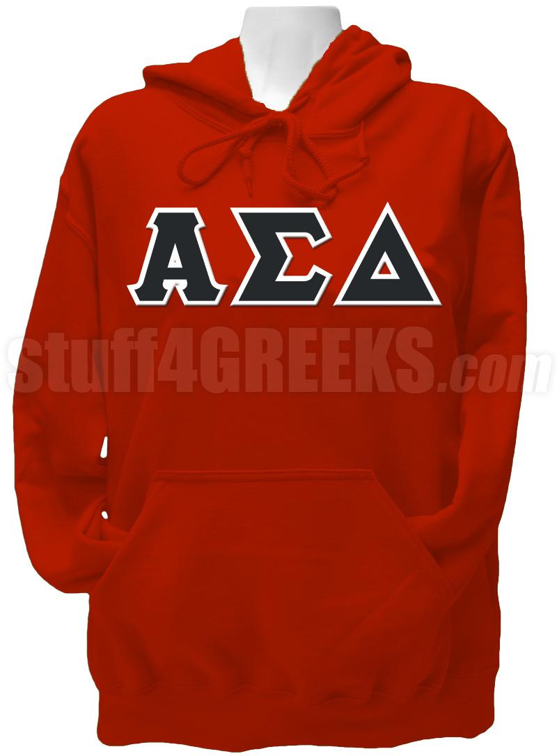 Alpha Sigma Delta Greek Letter Pullover Hoodie Sweatshirt, Red