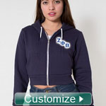American Apparel Cropped Zip-Up Sorority Hoodie Sweatshirt