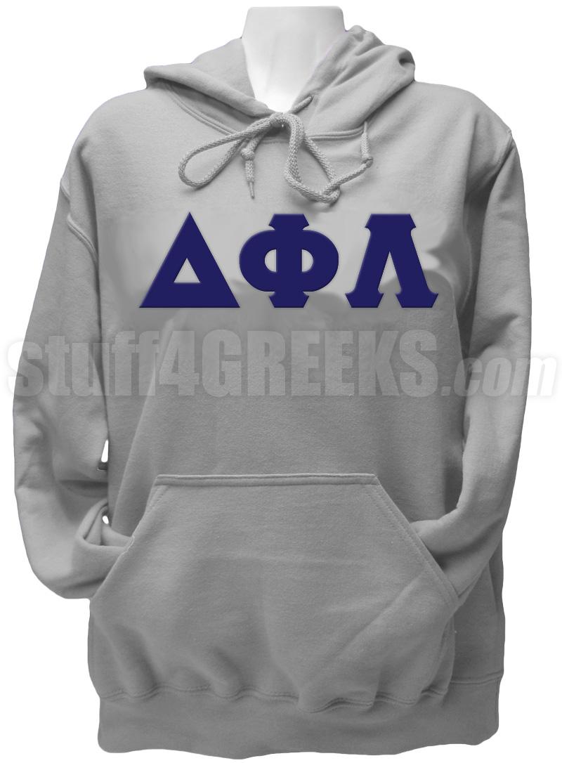 Delta Phi Lambda Greek Letter Pullover Hoodie Sweatshirt Gray