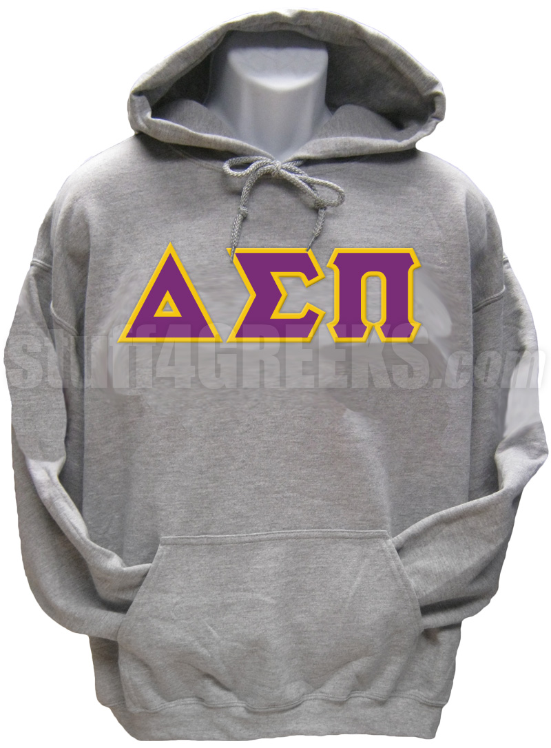 greek letter pullover hoodie sweatshirt gray zoom