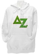 Delta Zeta Pullover Hoodie Sweatshirt with Greek Letters, White
