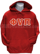 Kappa Alpha Psi Pullover Hoodie Sweatshirt with Phi Nu Pi Letters, Red