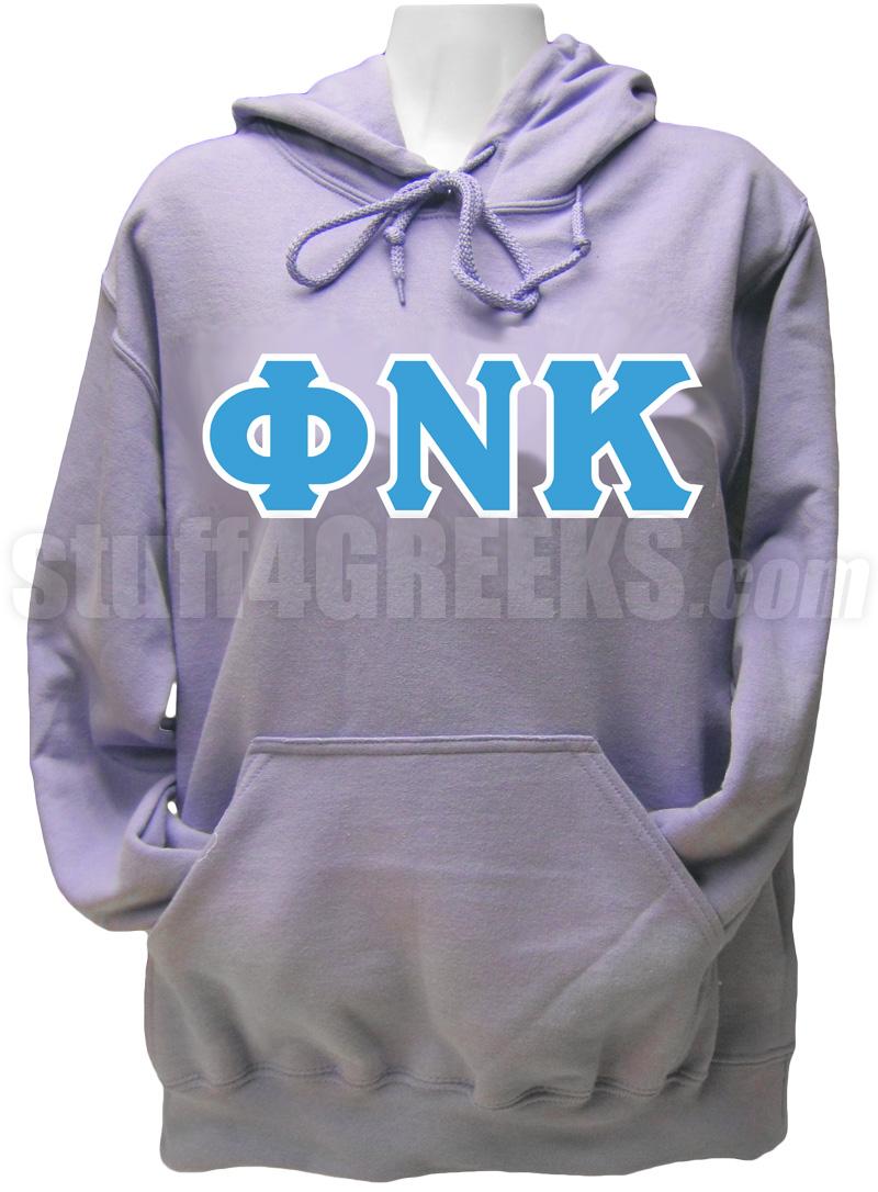 phi nu kappa greek letter pullover hoodie sweatshirt lavender