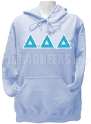 Delta Delta Delta Greek letter Pullover Hoodie, Light Blue