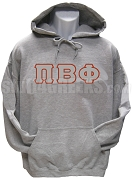 Pi Beta Phi Greek Letter Pullover Hoodie Sweatshirt, Grey
