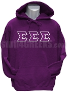 Tri-Sigma Greek Letter Pullover Hoodie Sweatshirt, Purple