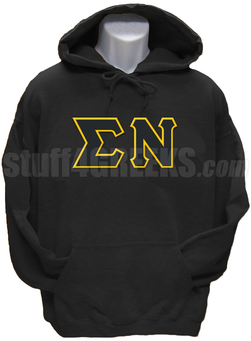 sigma nu greek letter pullover hoodie sweatshirt black zoom