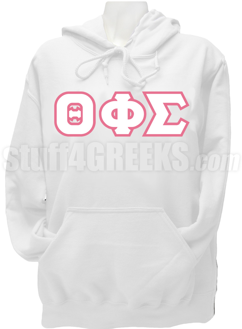 theta phi sigma greek letter pullover hoodie sweatshirt  white