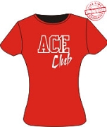 Ace Club T-Shirt, Red/White - EMBROIDERED with Lifetime Guarantee