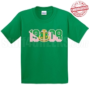 Alpha Kappa Alpha T-Shirt with Crest and Founding Year, Kelly Green - EMBROIDERED with Lifetime Guarantee
