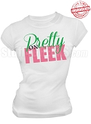 Alpha Kappa Alpha Pretty on Fleek T-Shirt, White - EMBROIDERED with Lifetime Guarantee