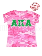 Alpha Kappa Alpha Silver Star, Pink Camo - EMBROIDERED with Lifetime Guarantee