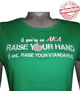 AKA Standards Ladies Fitted Tee, White/Kelly Green - EMBROIDERED with Lifetime Guarantee