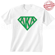 Alpha Kappa Alpha T-Shirt with Greek Letters Inside Superman Shield, White - EMBROIDERED with Lifetime Guarantee