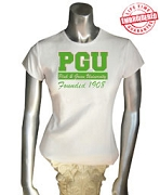 Pink & Green University T-Shirt, White - EMBROIDERED with Lifetime Guarantee